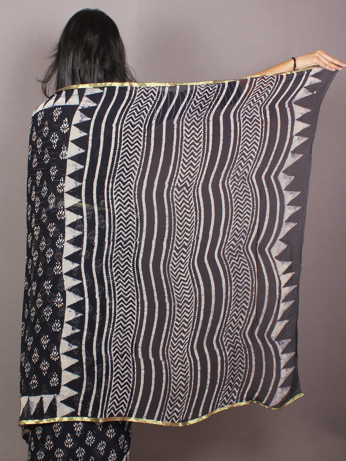Black White Hand Block Printed in Natural Colors Chiffon Saree - S03170791