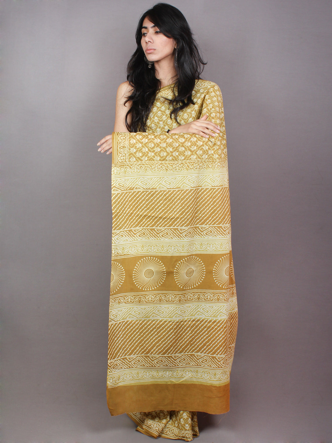 Goldenrod Yellow White Hand Block Printed in Natural Colors Cotton Mul Saree - S03170797