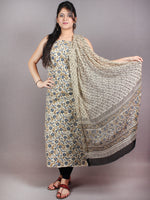 Off White Blue Brown Hand Block Printed Cotton Suit-Salwar Fabric With Chiffon Dupatta - S1628048