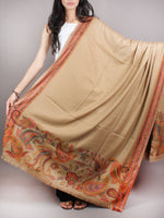Sandy Brown Black Red Shawl in Paisley-Self With Sozni Border From Kashmir - S200203