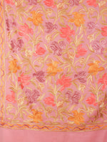 Peach Jaldar Aari Embroidery Pure Wool Stole from Kashmir - S6317080