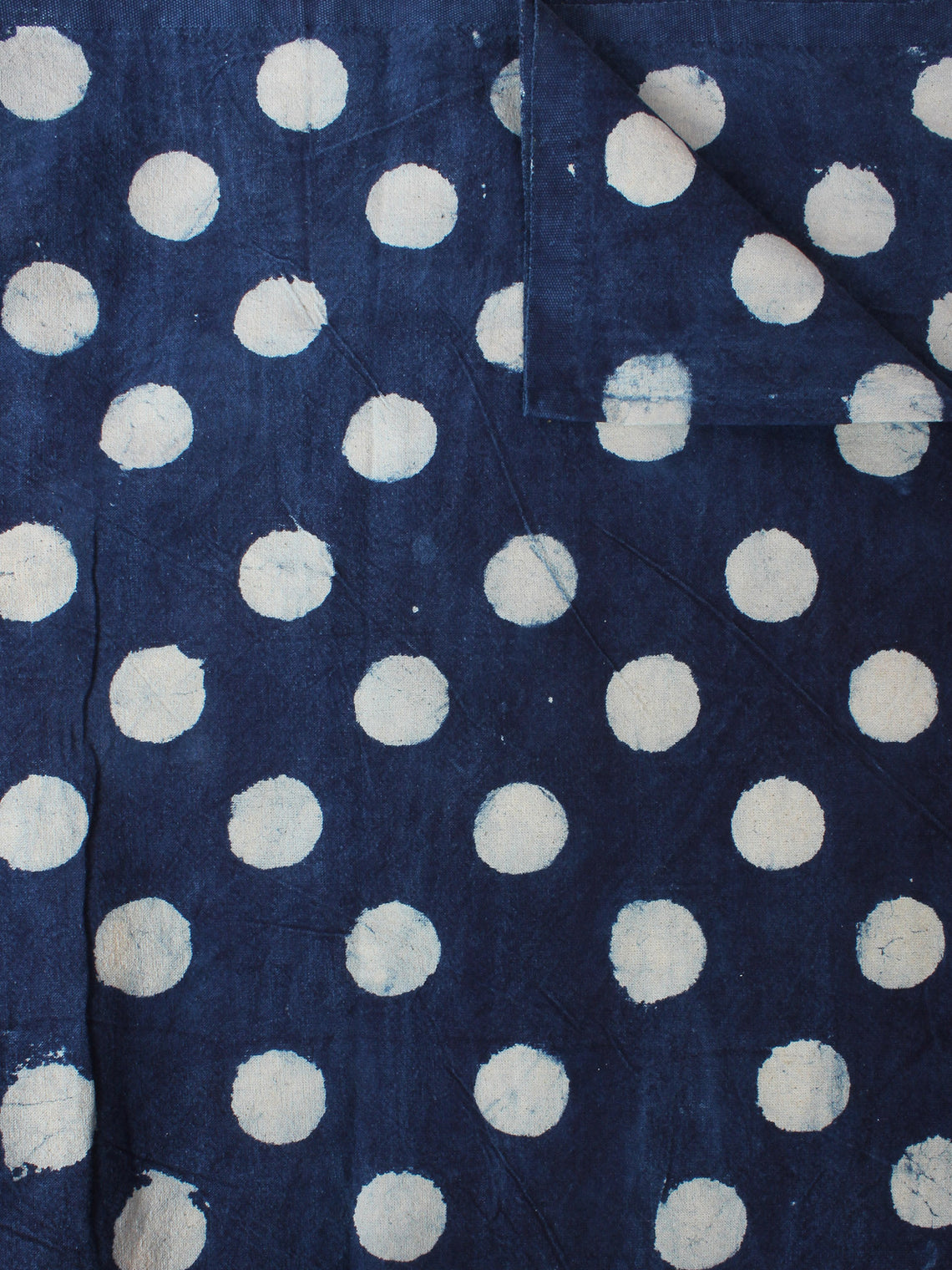 Indigo White Hand Block Printed Cotton Cambric Fabric Per Meter - F0916405
