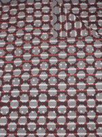 Maroon Beige Grey Hand Block Printed Cotton Cambric Fabric Per Meter - F0916432