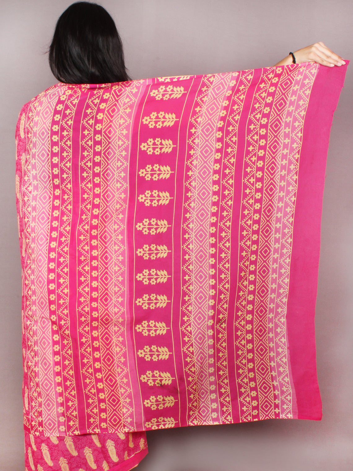 Pink Yellow White Block Printed in Natural Colors Cotton Mul Saree - S03170805