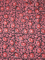 Black Pink Red Hand Block Printed Cotton Cambric Fabric Per Meter - F0916433