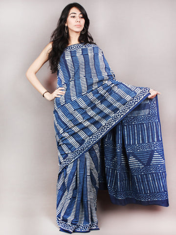 Indigo White Hand Block Printed Cotton Saree in Natural Colors - S03170812