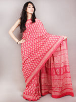 Pink White Hand Block Printed Cotton Saree in Natural Colors - S03170817