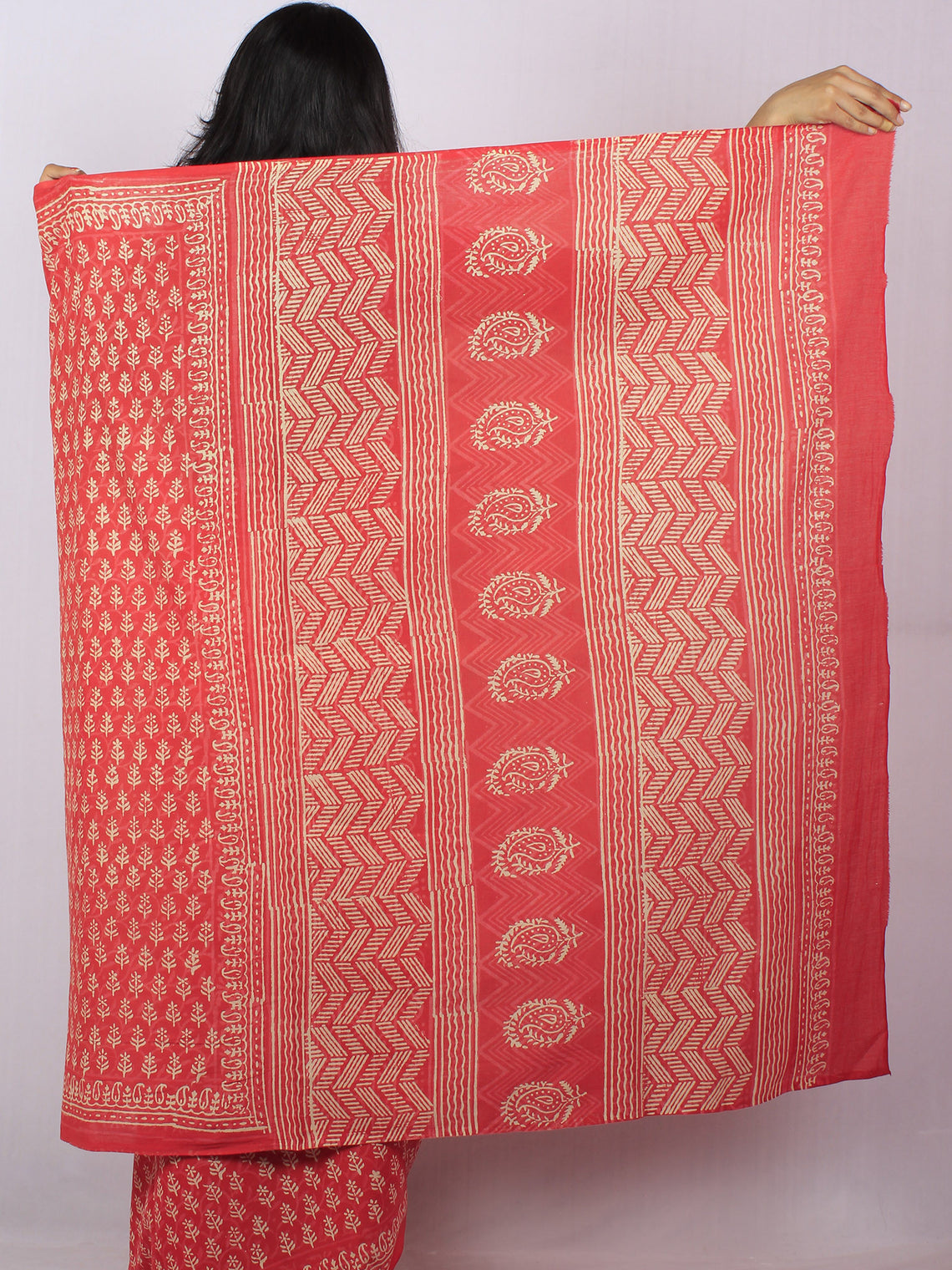 Sacrlet Red Pink Beige Hand Block Printed Cotton Saree in Natural Colors - S03170818
