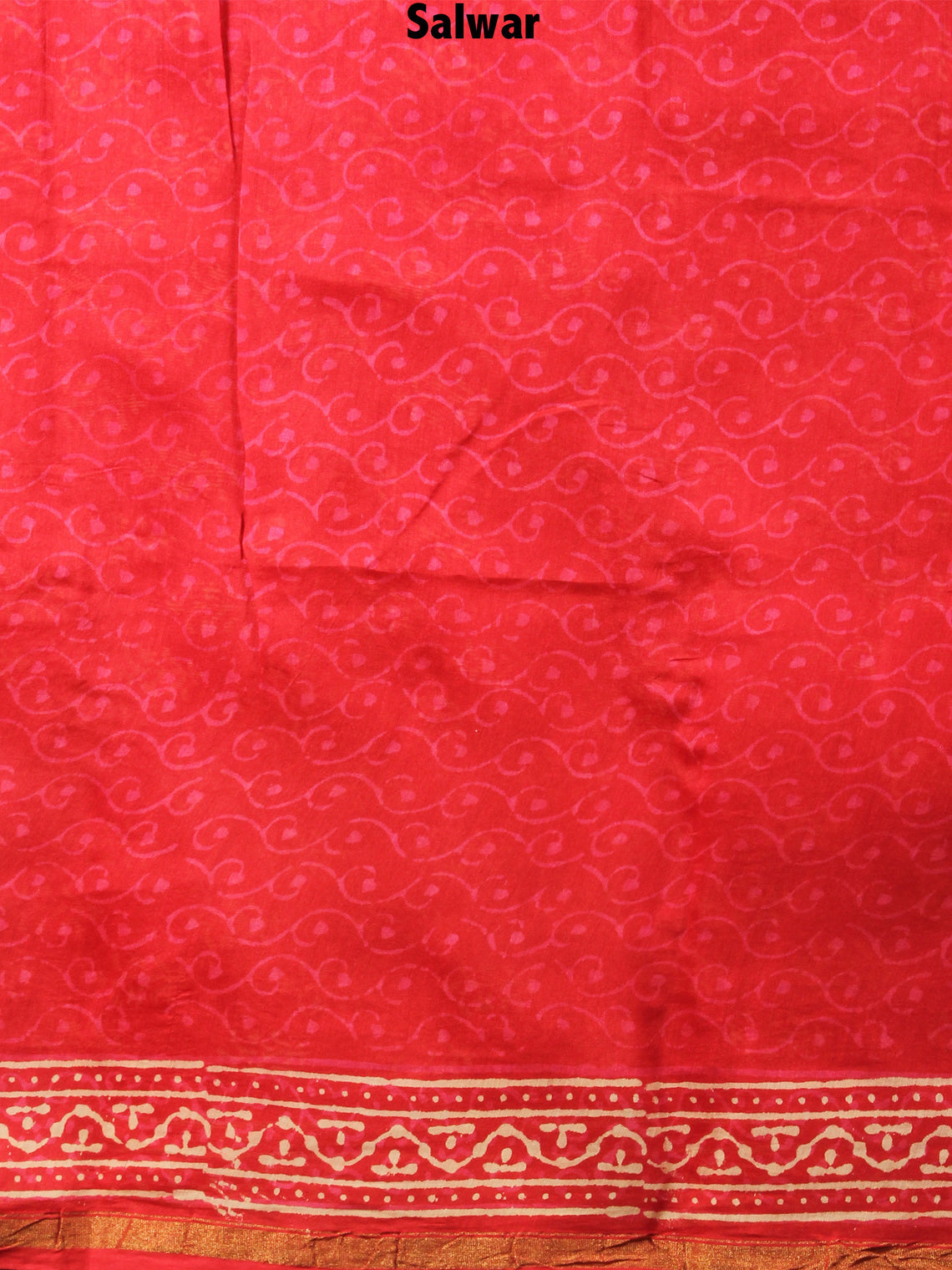Deep Red Beige Hand Block Printed Chanderi Kurta-Salwar Fabric With Chanderi Dupatta - S1628082