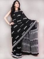 Black White Hand Block Printed Cotton Saree in Natural Colors - S03170823