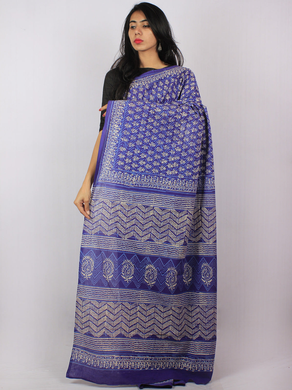 Purple Ivory Blue Hand Block Printed Cotton Saree in Natural Colors - S03170825