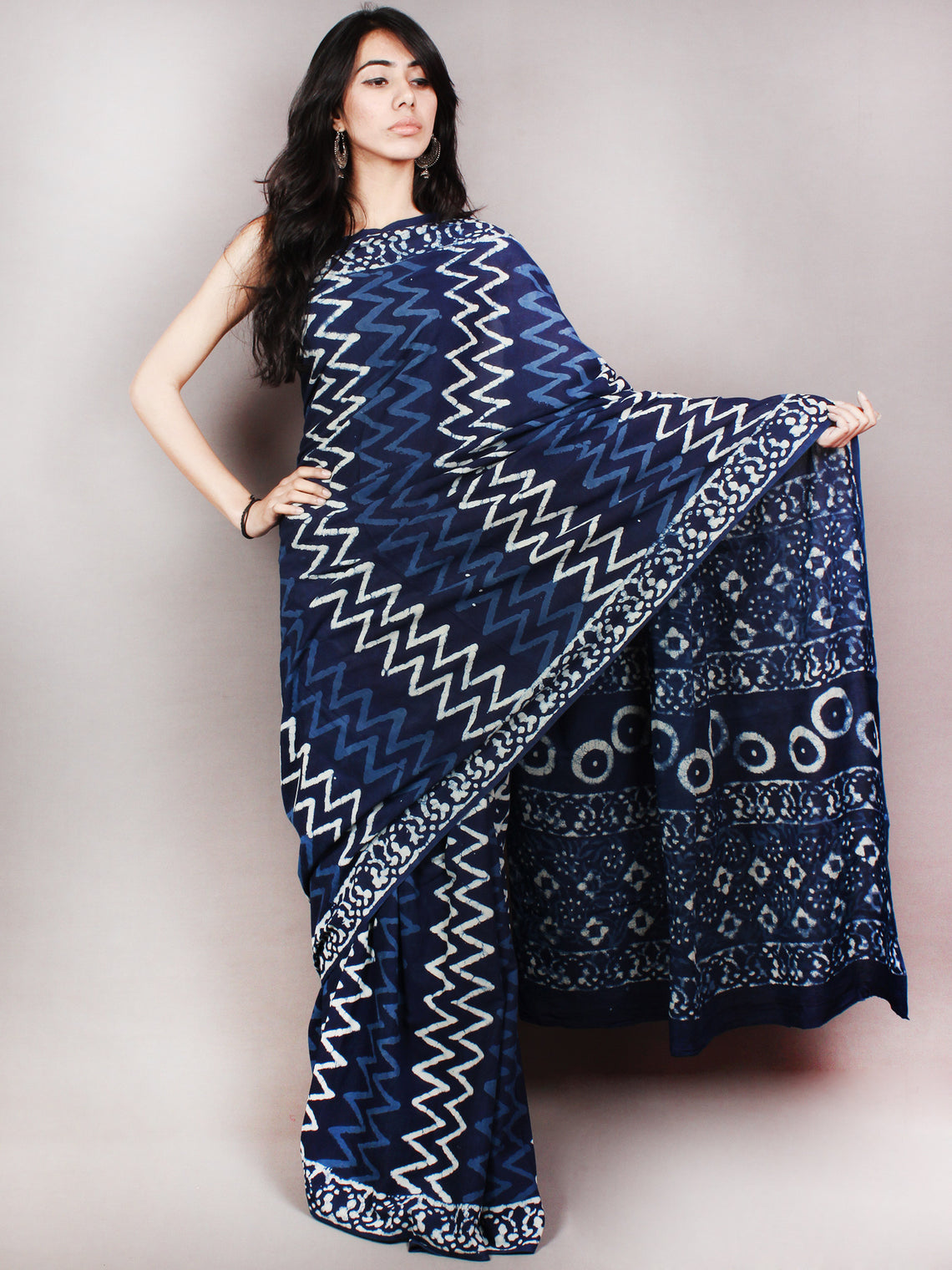 Indigo White Hand Block Printed Cotton Saree in Natural Colors - S03170826
