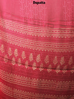 Rose Pink Beige Hand Block Printed Cotton Suit-Salwar Fabric With Chiffon Dupatta - S1628083