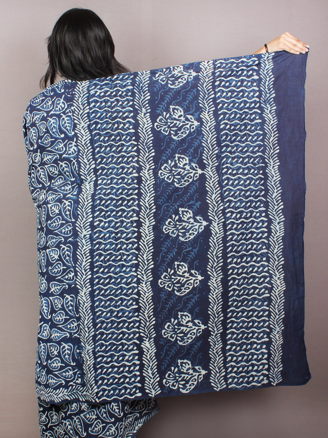 Indigo White Hand Block Printed Cotton Saree in Natural Colors - S03170830