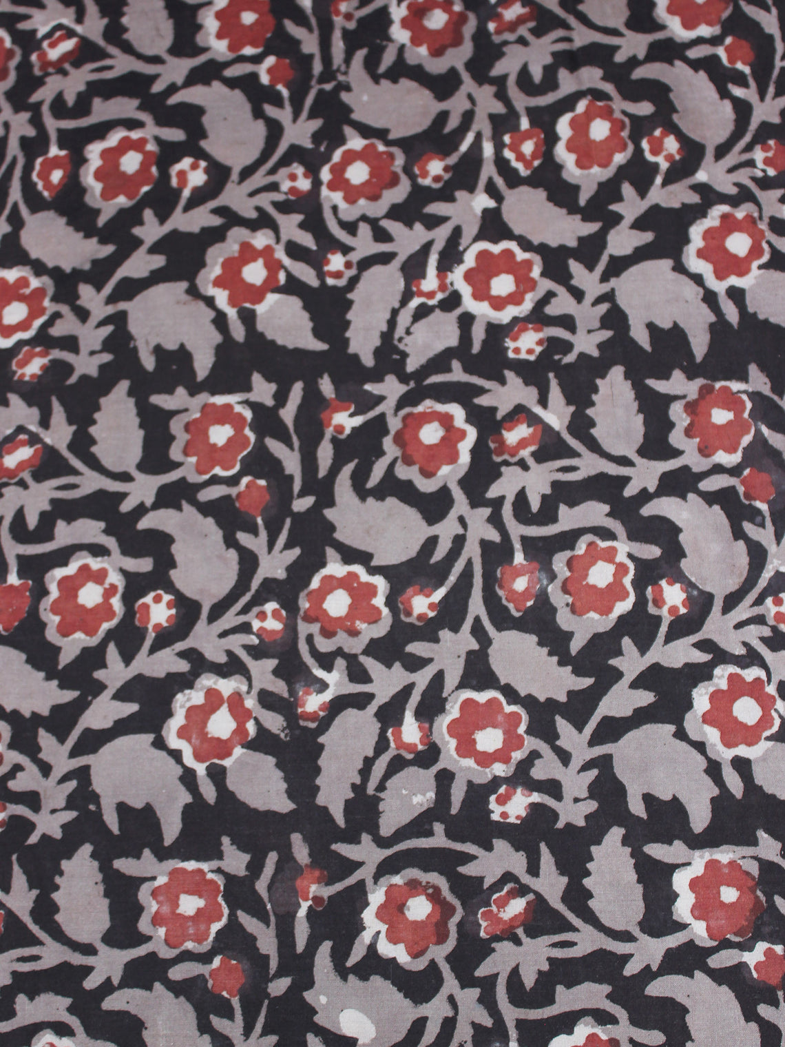 Black Grey Maroon Hand Block Printed Cotton Cambric Fabric Per Meter - F0916436