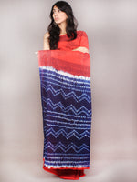 Red Indigo White Hand Block Printed Cotton Saree in Natural Colors - S03170841