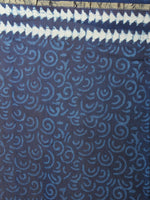Indigo White Hand Block Printed in Natural Colors Chanderi Saree - S03170842