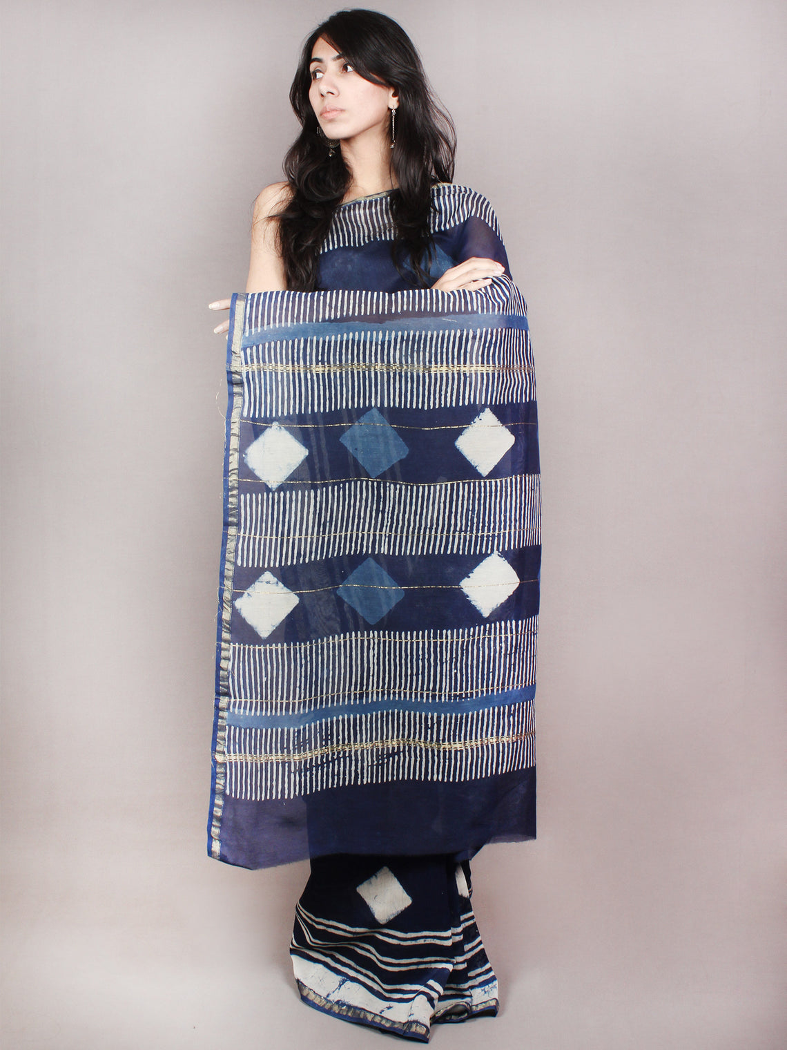 Indigo White Hand Block Printed in Natural Colors Chanderi Saree - S03170846