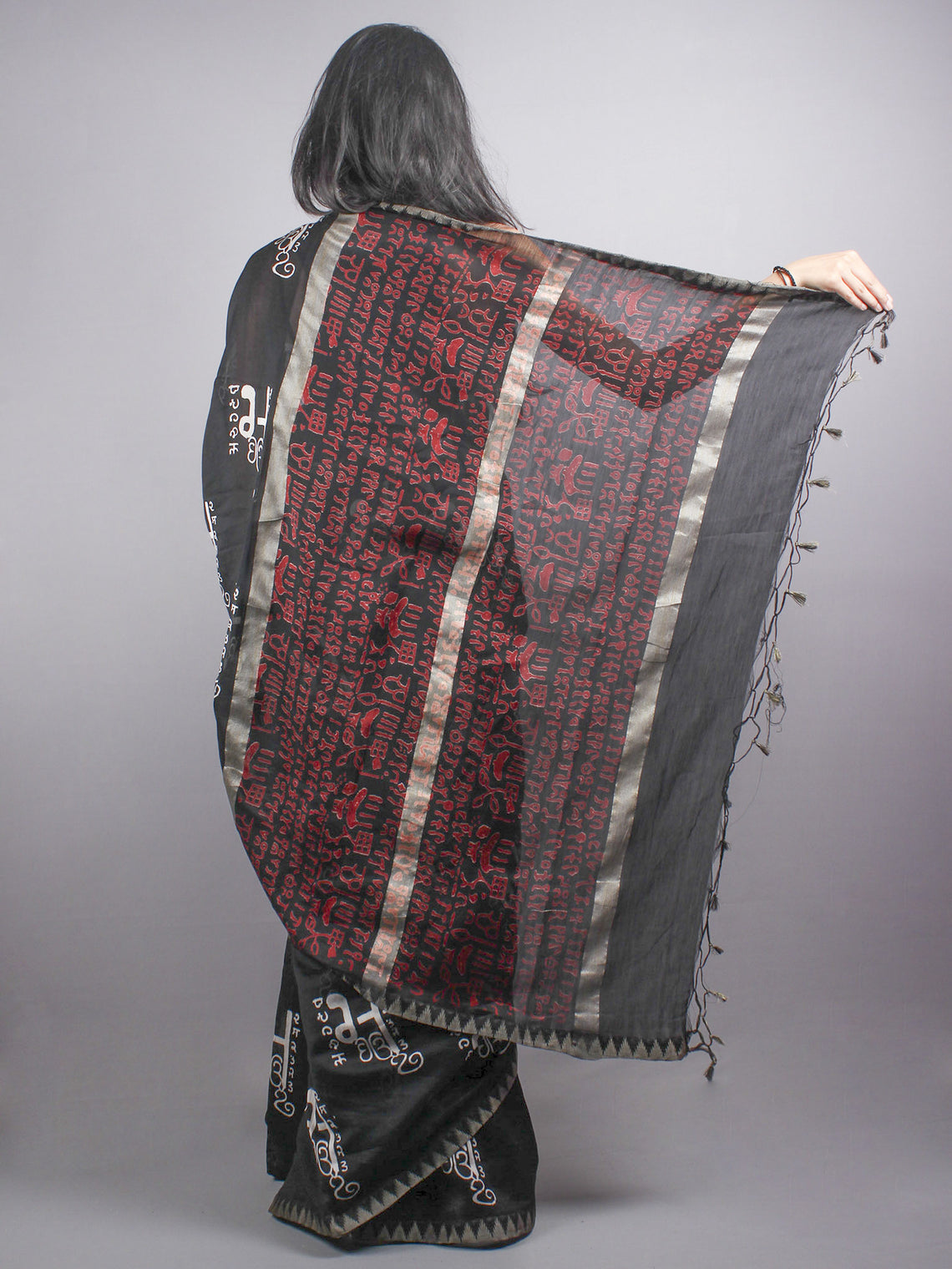 Black White Chanderi  Hand Block Printed Saree With Geecha Border - S0317085