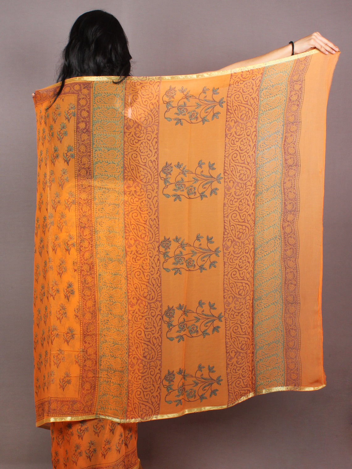 Pastel Orange Hand Block Printed in Natural Colors Chiffon Saree - S03170850