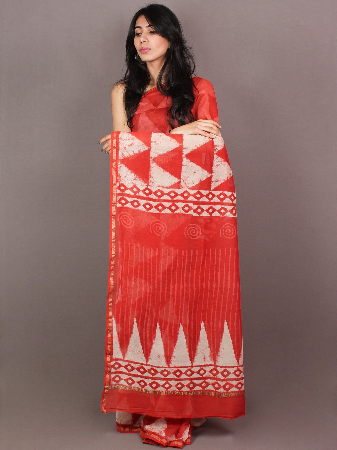 Red White Hand Block Printed in Natural Colors Chanderi Saree - S03170852