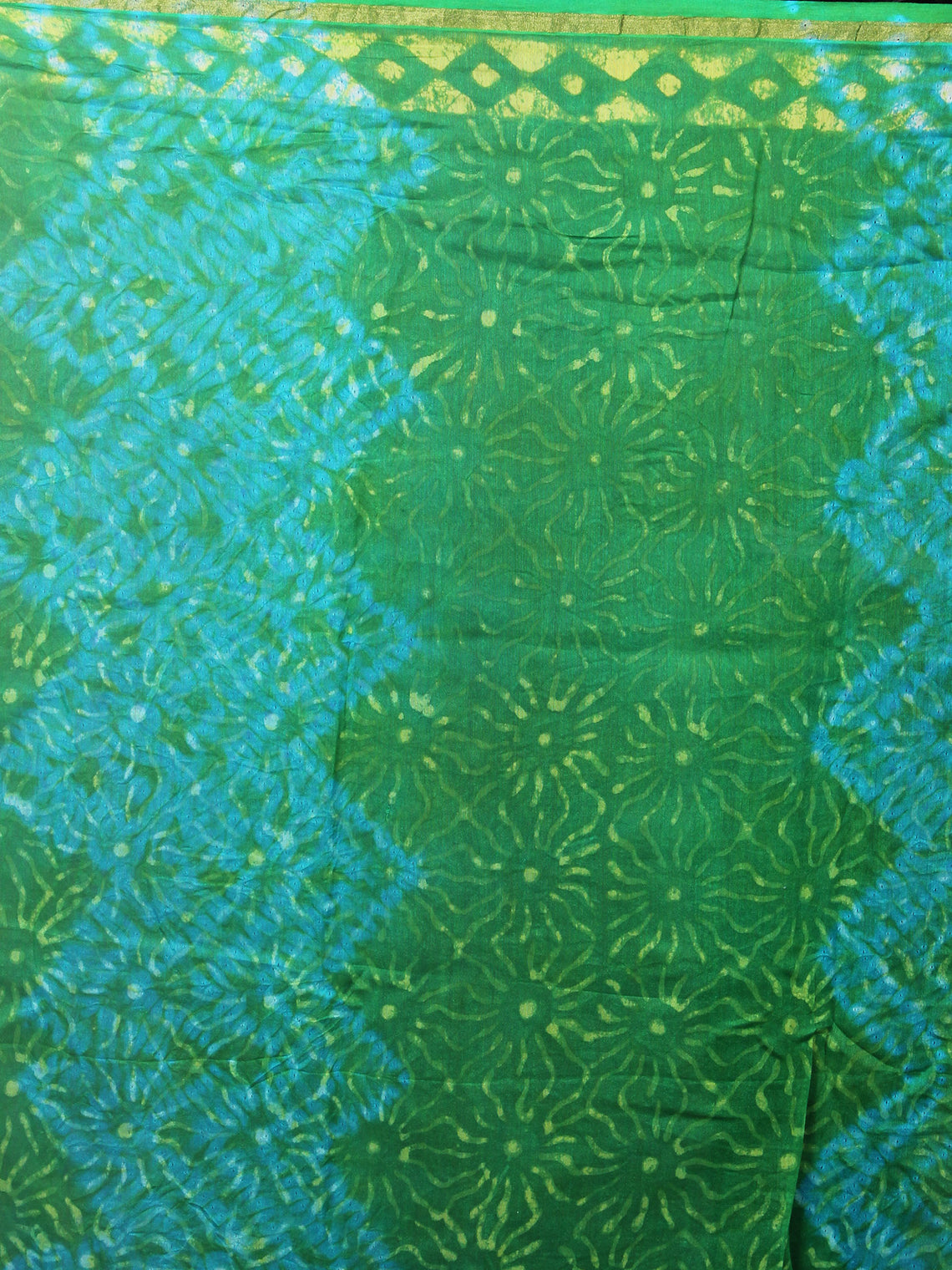 Prussian Green Sky Blue Hand Block Printed in Natural Colors Chanderi Saree - S03170854