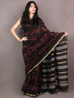 Black Red Hand Block Printed in Natural Colors Chanderi Saree With Geecha Border - S03170857