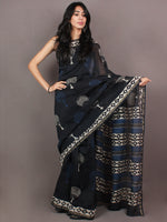 Black Indigo White Hand Block Printed in Natural Colors Chanderi Saree - S03170859