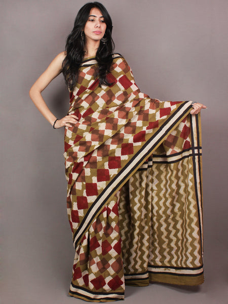 Asparagus Green White Maroon Pink Bagru Dabu Hand Block Printed in Cotton Mul Saree - S03170860
