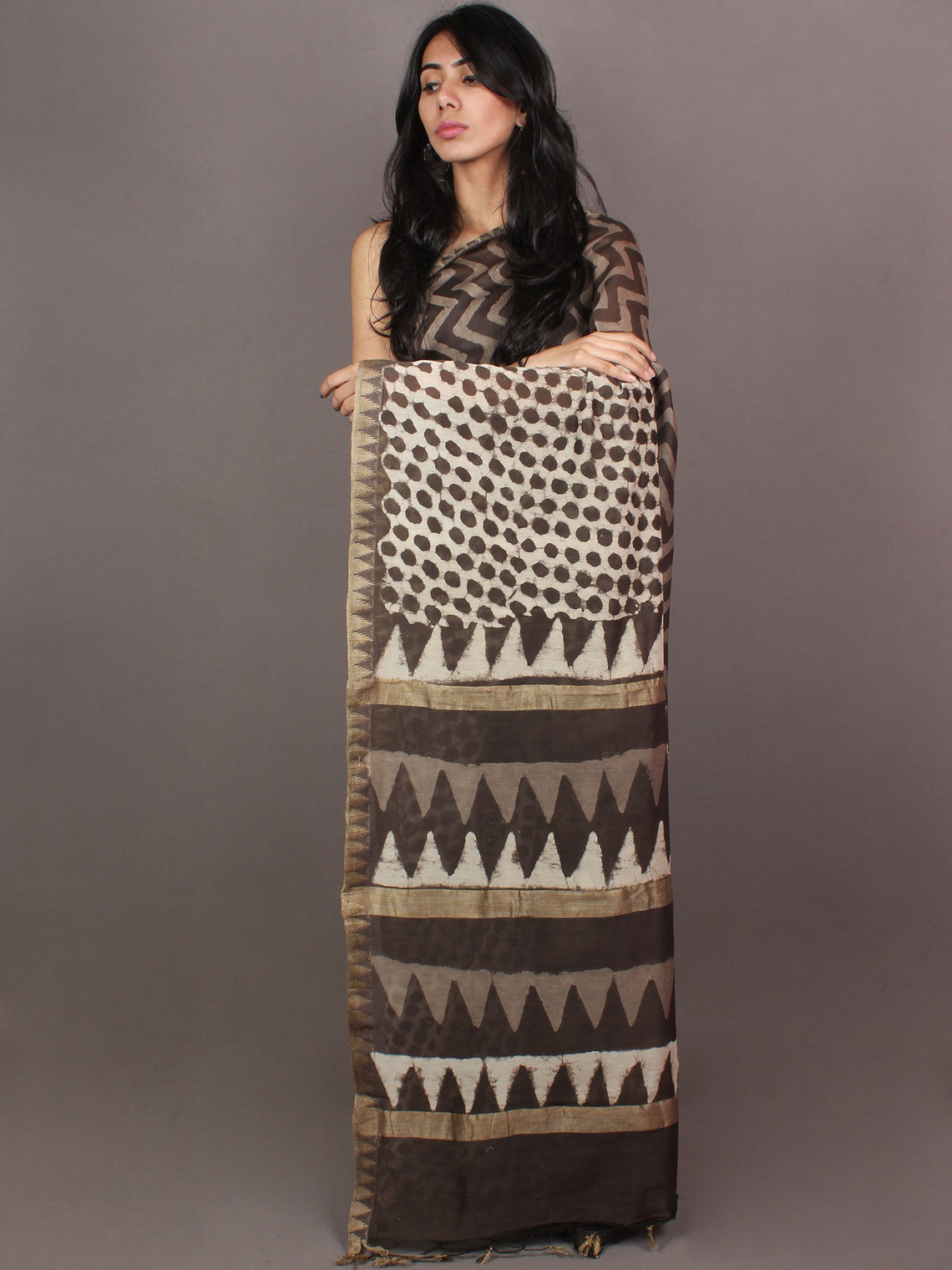 Ivory Brown White Hand Block Printed in Natural Vegetable Colors Chanderi Saree With Geecha Border - S03170864