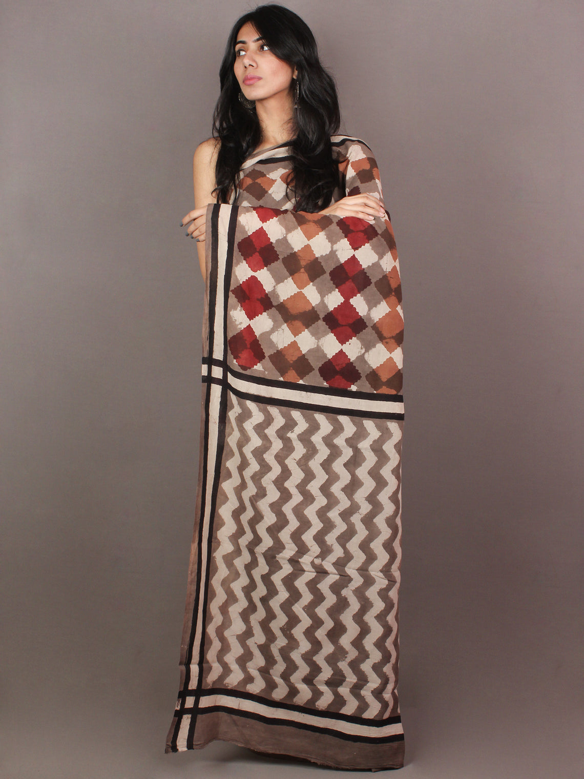 Brown White Maroon Pink Bagru Dabu Hand Block Printed in Cotton Mul Saree - S03170866