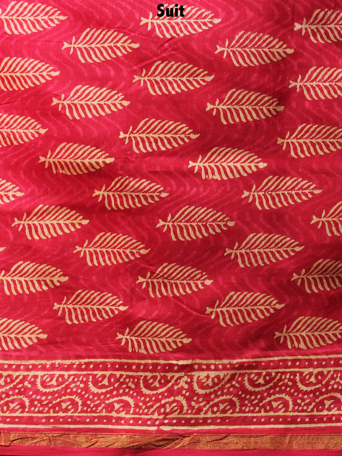 Deep Red Beige Hand Block Printed Chanderi Kurta-Salwar Fabric With Chanderi Dupatta - S1628087