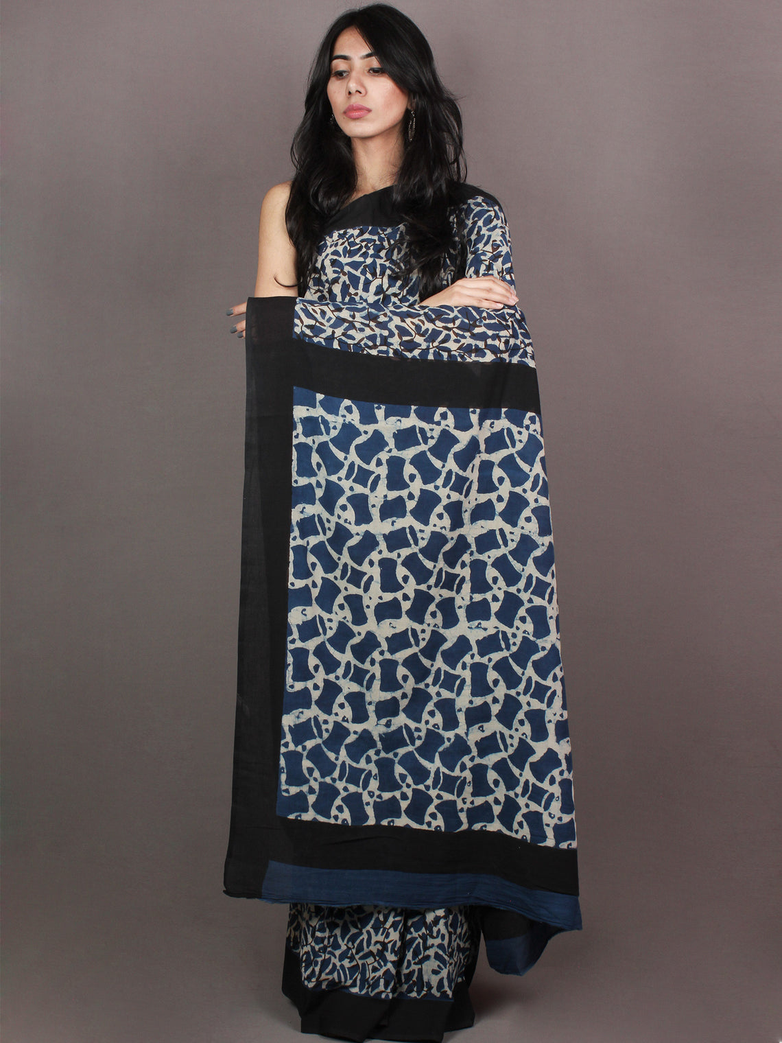 Indigo White Black Bagru Dabu Hand Block Printed in Cotton Mul Saree With Black Border - S03170873