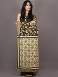 Black Asparagus Green White Bagru Dabu Hand Block Printed in Cotton Mul Saree - S03170875