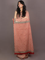 Beige Maroon Black Bagru Dabu Hand Block Printed Polka Dots in Cotton Mul Saree - S03170877