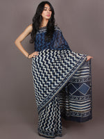 Indigo White Hand Block Printed in Natural Colors Chanderi Saree - S03170880