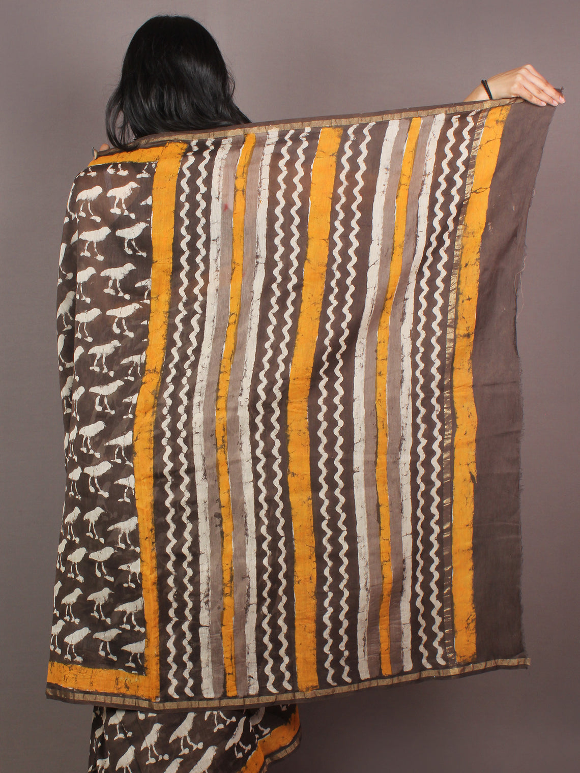 Brown White Yellow Hand Block Printed in Natural Colors Chanderi Saree - S03170881