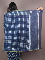 Indigo White Hand Block Printed in Natural Colors Chanderi Saree - S03170885