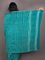 Fern Green White Hand Block Printed in Natural Colors Chanderi Saree - S03170888