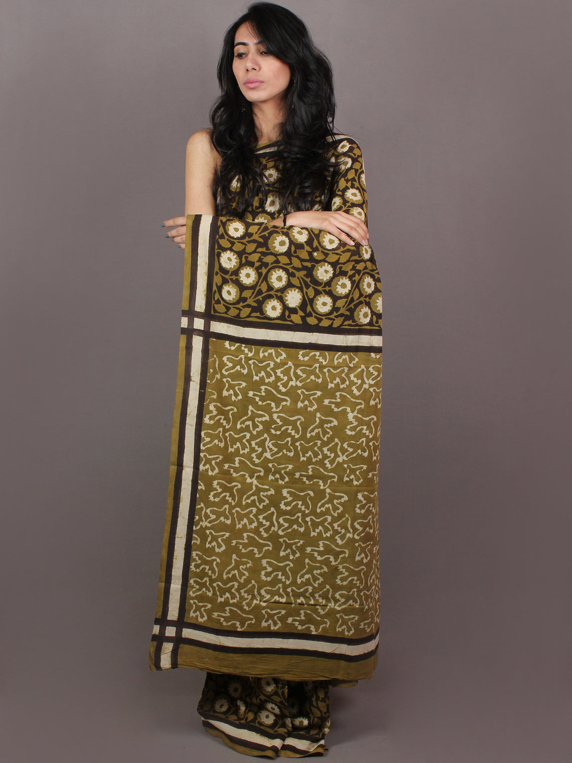 Asparagus Green White Brown Bagru Dabu Hand Block Printed in Cotton Mul Saree - S03170890