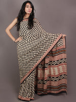 Beige Black Red Bagru Dabu Hand Block Printed Polka Dots in Cotton Mul Saree - S03170894