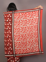 Red White Black Bagru Dabu Hand Block Printed in Cotton Mul Saree - S03170895