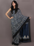 Black Indigo White Bagru Dabu Hand Block Printed in Cotton Mul Saree - S03170896