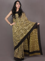 Asparagus Green White Brown Bagru Dabu Hand Block Printed in Cotton Mul Saree - S03170898