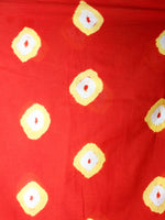 Scarlet Red Yellow Ivory Shibori Dyed Cotton Mul Saree  - S03170450