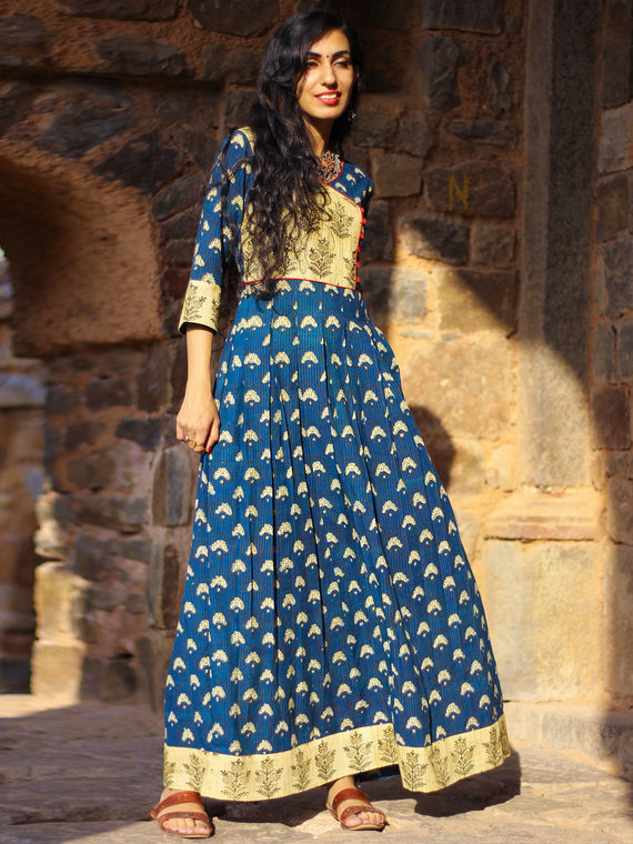 Indigo Garden - Hand Block Printed Long Angrakha Dress - D375F999
