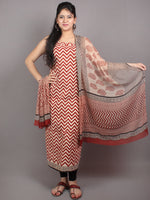 Red Beige Black Hand Block Printed Cotton Suit-Salwar Fabric With Chiffon Dupatta - S1628049