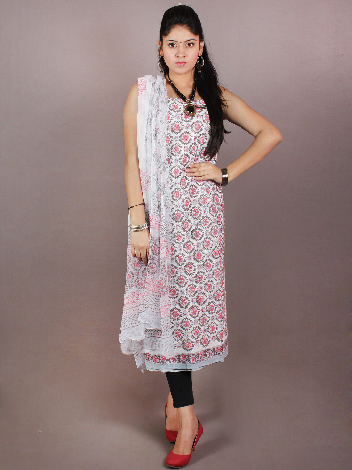 White Grey Pink Hand Block Printed Cotton Suit-Salwar Fabric With Chiffon Dupatta - S1628101
