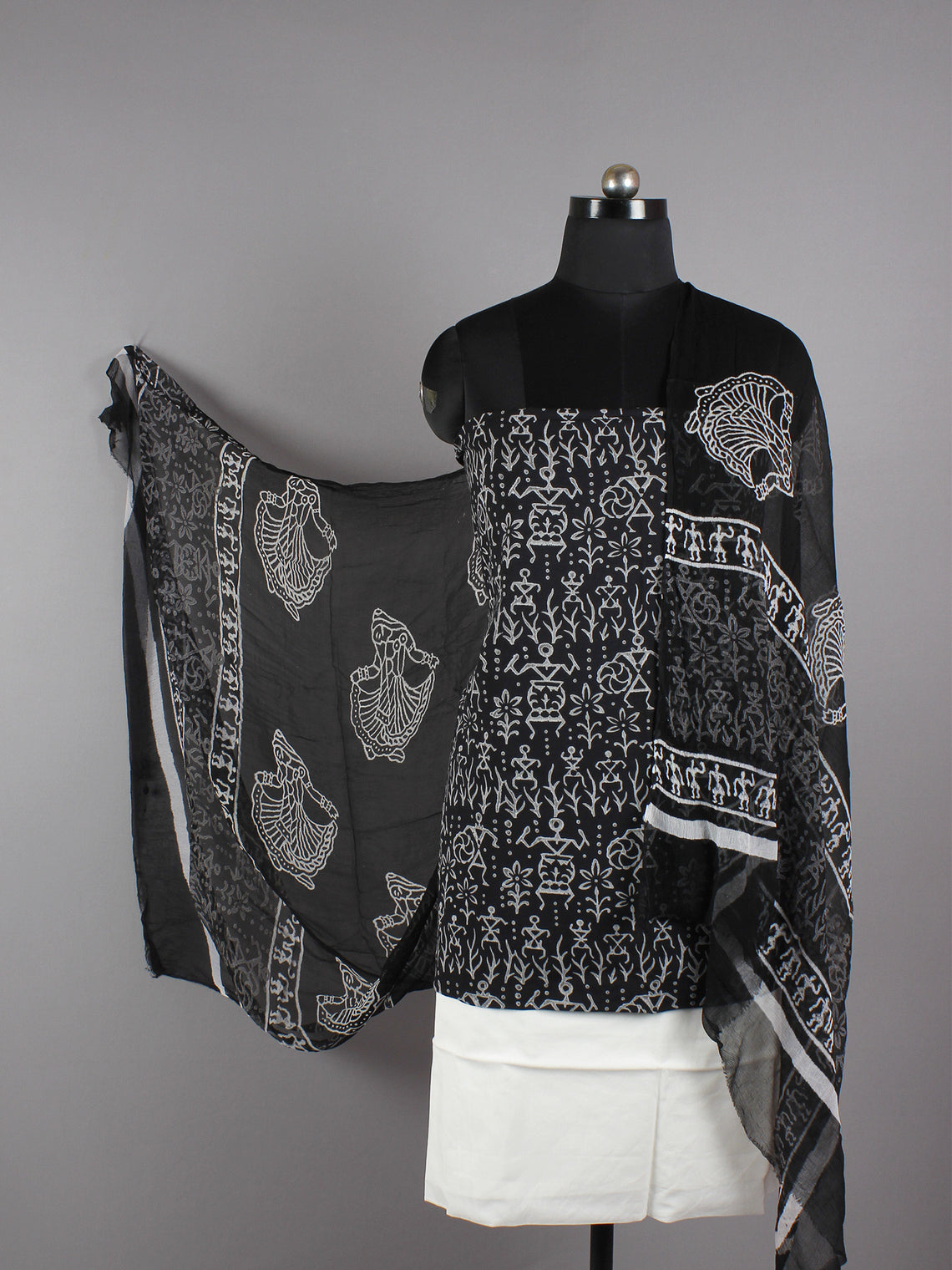 Black White Hand Block Printed Cotton Suit-Salwar Fabric With Chiffon Dupatta - S16281238