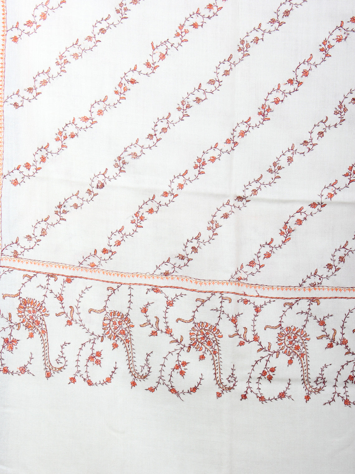 Ivory Orange Brown Pure Wool Jaldar Cashmere Shawl With Needle Embroidery From Kashmir - S200301